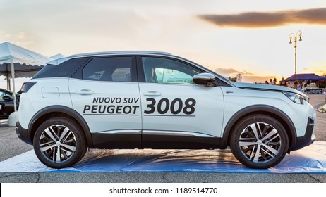 Rome,Italy - July 21, 2018:On occasion of  Rome s Rally event, the motor showrooms exhibit new cars models in Rome: A new SUV 3008 from Peugeot automaker.