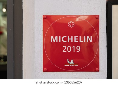 ROME,ITALY - MARCH 30: View of Michelin Star 2019 Sticker on Restaurant Wall on March 30, 2019