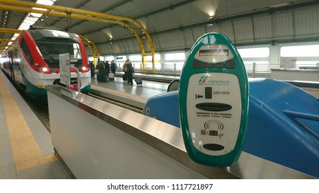 Rome/Italy- November 9, 2017: A ticket validation machine at a railway station in Rome, Italy.