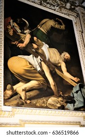 Rome,Italy November,15 2016:Painting of the Caravaggio of the Church of Santa Maria del Popolo.