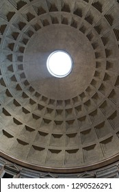 Rome/Italy - September 06 2014: The landmark Pantheon in Rome, Italy. Originally a temple, and now a church, it has a coffered concrete dome which has a central opening or oculus to the sky.