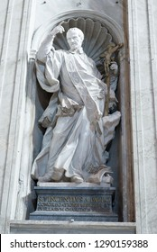 Rome/Italy - September 06 2014: Saint Vincent de Paul statue Inside the St Peter's Basilica. St Peter's Basilica is a Late Renaissance church located within Vatican City.