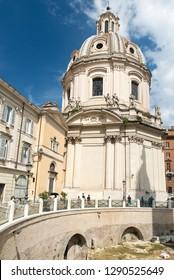 Rome/Italy - September 06 2014: Santissimo Nome di Maria al Foro Traiano Church. This is a is a Roman Catholic church near the Column of Trajan.