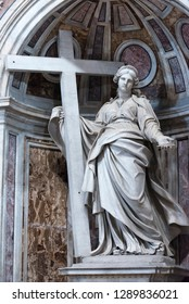 Rome/Italy - September 06 2014: St. Helena, the mother of Emperor Constantine, by Andrea Bolgi, 1635, inside the St Peter's Basilica, Vatican City