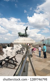 Rome/Italy - September 06 2014: Tourists on the roof of the Altare della Patria. The Altare della Patria is a monument built in honour of Victor Emmanuel, the first king of a unified Italy.