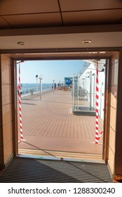 Rome/Italy - September 07 2014: One of the decks of MSC Musica Cruise ship. The MSC Musica is the first Musica-class cruise ship built in 2006 and operated by MSC Cruises.