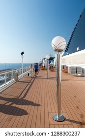 Rome/Italy - September 07 2014: People enjoying a cruising vacation on the deck of MSC Musica. The MSC Musica is the first Musica-class cruise ship built in 2006 and operated by MSC Cruises.
