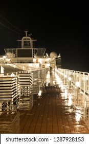 Rome/Italy - September 08 2014: Detail on the MSC Musica cruise ship deck at night. The MSC Musica was built in 2006 and is operated by MSC Cruises.