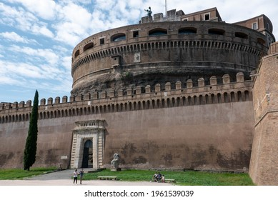 RomeItaly - September 2018: Entrance of The Mausoleum of Hadrian known as Castel Sant'Angelo