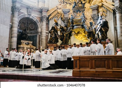 Rome-Italy-10-24-2015. Holy Pontifical Mass in an ancient rite at the Saint Peter's Chair, Mass in Latin, in the Basilica of Saint Peter's in the Vatican, pilgrimage summorum pontificum