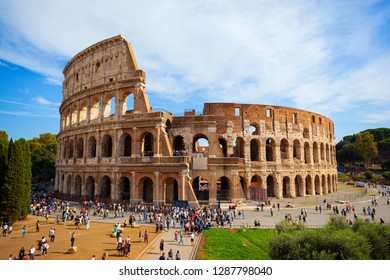 ROME/ITALY-OCT 10: Ancient Roman architectural ruins-The Colosseum on Oct 10 2018 in Rome, Italy.
