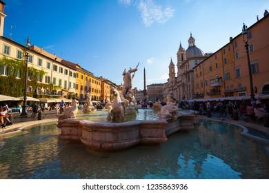 ROME/ITALY-OCT 12: Piazza Navona and Fontana on Oct 12 2018 in Rome, Italy.
