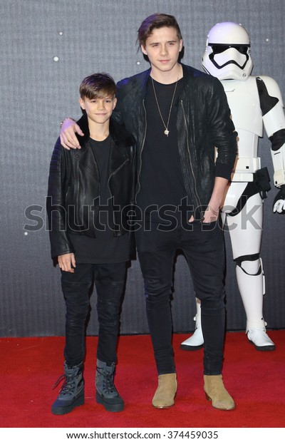 "Romeo Beckham & Brooklyn Beckham at the European premiere of ""Star Wars: The Force Awakens"" in Leicester Square, London. 