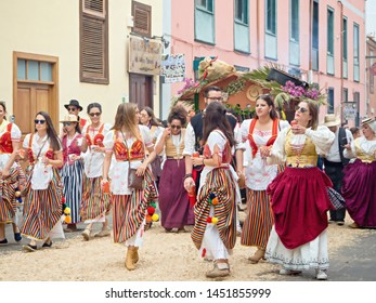"The Romeria in ""La Laguna"" on Tenerife/Canary Island/Spain on 14.7.2019 with costumes and oxen and music groups, a traditional homeland festival, old customs"