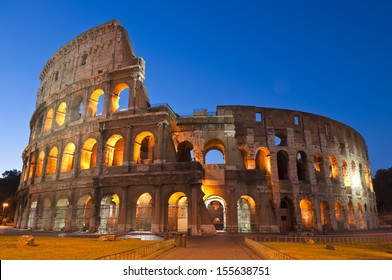 Rome's mighty Coliseum (AD 80), illuminated at night and icon of the city, still standing today as a testament to ancient engineering.