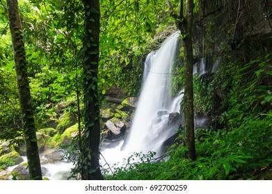 Romklao Paradon Waterfall, Waterfall with autumn color change Beautiful nature.