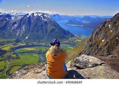 Romsdalseggen, view, Romsdal, Trollveggen, Vengetindene, Romsdalshorn, Norway, lanscape