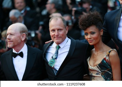 Ron Howard, Thandie Newton, Woody Harrelson depart the screening of 'Solo: A Star Wars Story' during the 71st annual Cannes Film Festival at Palais des Festivals on May 15, 2018 in Cannes, France.