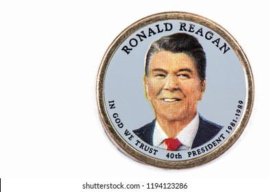 Ronald Reagan Presidential Dollar, USA coin a portrait image of RONALD REAGAN IN GOD WE TRUST 40th PRESIDENT 1974-1977, $1 United State of America, Close Up UNC Uncirculated - Collection