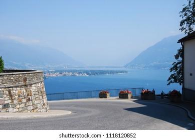 Ronco sopra Ascona, Canton Ticino / Switzerland - August 26 2016: View of Locarno from Ronco sopra Ascona.