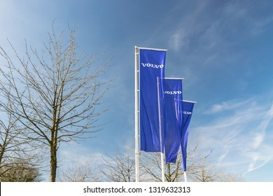 RONCQ,FRANCE-February 20,2019:View of the Volvo brand logo on the flags.Volvo Car Corporation is a Swedish company manufacturing passenger cars, being part of Geely Automobile.