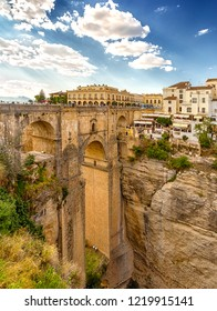 Ronda, Andalusia, Spain - October 2, 2018: Puente Nuevo - a new bridge, a landmark site of Ronda, located above the gorge of El Tahoe.