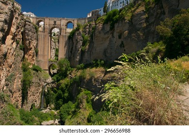 Ronda new bridge; horizontal shot from west (Andalusia, Spain)