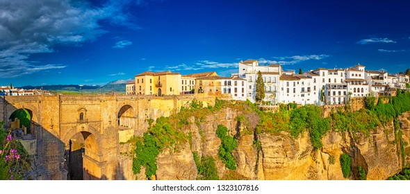 RONDA, SPAIN - 18 MAY, 2018: Tajo de Ronda in Malaga, Spain
