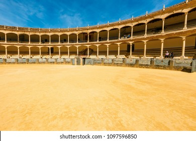 Ronda, Spain, April 05, 2018: Bullring in Ronda is one of the oldest and most famous bullfighting arena in Andalusia, Spain