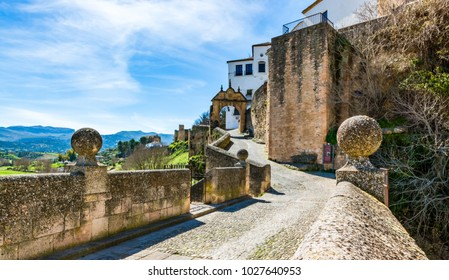 Ronda, Spain: The Arch of Philip (Felipe) V, built in the 1740s as the city's main entrance, this arch features the arms of the house of Bourbon.