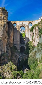RONDA, SPAIN - CIRCA MAI, 2019:  The Puente Nuevo bridge of Ronda in Andalusia, Spain