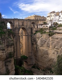 Ronda, Spain, February 2019. The famous Puente Nuevo is a new bridge over the Guadalev?n River over the gorge of El Tajo. Business card Rhonda. Andalusia.