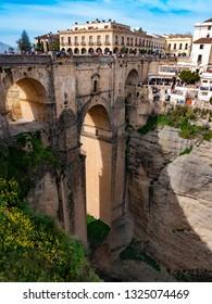 Ronda, Spain, Februaryl 23, 2019: Tourists visit new bridge in Village of Ronda in Andalusia, Spain