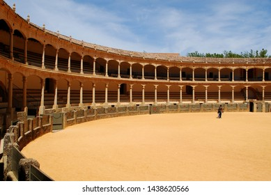 RONDA, SPAIN - MAY 5, 2008 - View inside the famous bullring built in 1785 and the oldest in Spain, Ronda, Malaga Province, Andalucia, Spain, Europe, May 5, 2008.