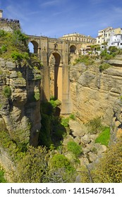 Ronda, Spain at the Puente Nuevo Bridge over the Tajo Gorge. Ronda is a city in the Spanish province of Malaga.