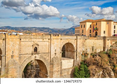 Ronda, Spain-October 12, 2017: Famous Puente Nuevo Bridge's Arch in Ronda historic city center