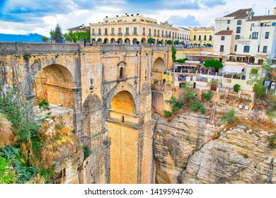 Ronda, Spain-October 12, 2018: Famous Puente Nuevo Bridge's Arch in Ronda historic city center
