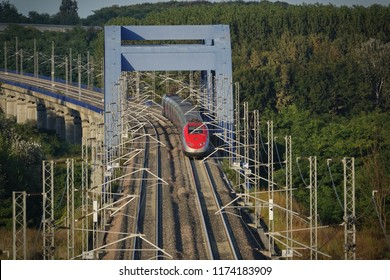 Rondissone, ITALY - september 2018: italian high-speed train Trenitalia Frecciarossa