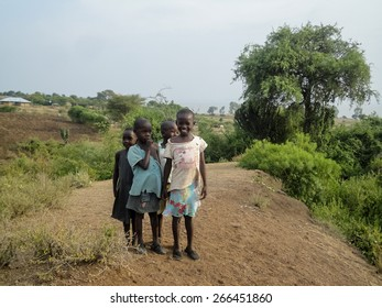 RONGO, KENYA - FEBRUARY 15, 2014: Unidentified children on the farm in Rongo, Kenya. Tongo is small agricultural town in South Nyanza District in Kenya.