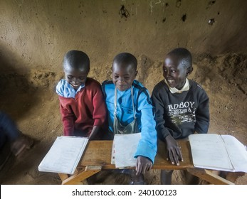 RONGO, KENYA - FEBRUARY 19, 2014: Unidentified children at elementary school in Rongo, Kenya. Since 2003 education in public schools in Kenya became free and compulsory.