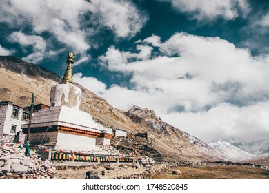 Rongphu Monastery, a small tibetan temple in Himalayas, usually considered as the first camp for hikers to climb Mount Everest.