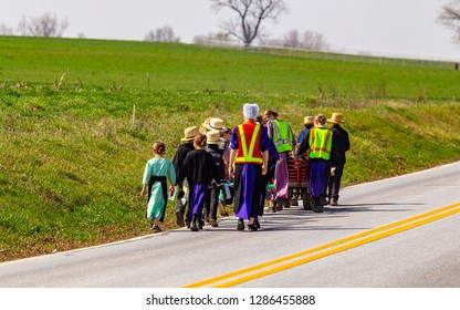 Ronks, PA, USA - March 24, 2016: Amish school children walk along a rural road on a warm spring day in Lancaster County, Pennsylvania.