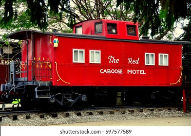 Ronks, Pennsylvania - June 4, 2015:  Vintage caboose from a former American railroad now serves as lodgings at the Red Caboose Motel  *