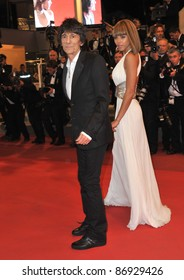 """Ronnie Wood & Ana Araujo at the premiere of """"Melancholia"""" at the 64th Festival de Cannes. May 18, 2011  Cannes, France Picture: Paul Smith / Featureflash"""
