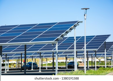Roodepoort, South Africa - September 13, 2018: New solar panel carports in the parking lot of the Makro store