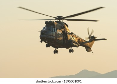 ROODEWAL, SOUTH AFRICA-SEP 17 2018: Oryx helicopter approaches with airborne troops  at the SAAF Air Capability Demonstration