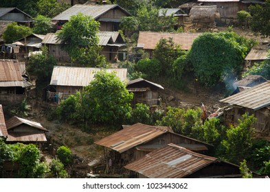 Roof of Akha village in mountains of North Laos