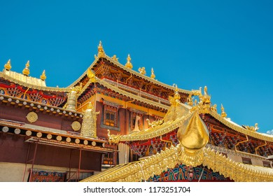 the roof architecture of Songzanlin Temple also known as the Ganden Sumtseling Monastery, is a Tibetan Buddhist monastery in Zhongdian city( Shangri-La), Yunnan China.