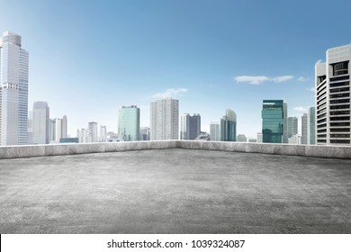 The roof of building with skyscrapers view on the city