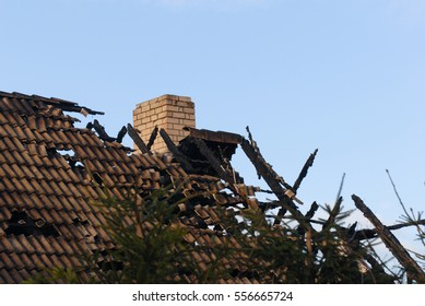 roof of the burned house